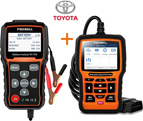 high quality FOXWELL BT705 Battery Tester for 12-24 Volts NT510 Elite All Sytem Bidirectional Scan discount Tool for high quality Toyota Lexus online sale