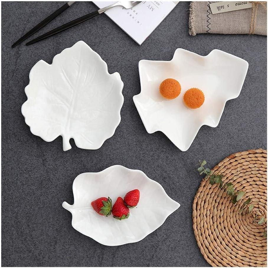 OFFicial site JXXXJS Creative Leaf Fish Shape Fashion Cute New mail order Ceramic D Cake Dish