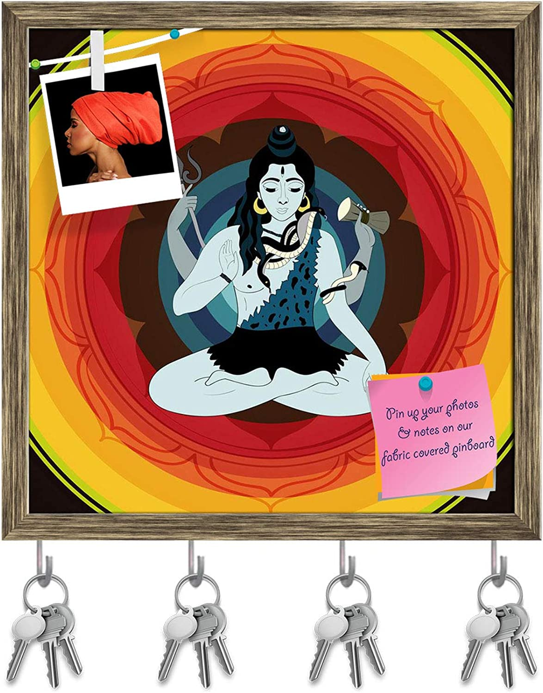Artzfolio Lord Shiva Hindu God D2 Key Holder Hooks   Notice Pin Board   Antique golden Frame 20 X 20Inch