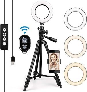 amzdeal 6 Anillo de Luz LED 3 Colores 10%-100% Brillos Regulables Girar 360º Aro de Luz con Control Remoto y Soporte para Movil para Maquillaje/Videollamada/Selfie/Transmisión en Vivo