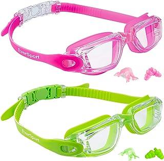 EverSport Kids Swim Goggles, Pack of 2 Kids Swimming Goggles, Crystal Clear Swimming Goggles for Children and Teens, Anti-...