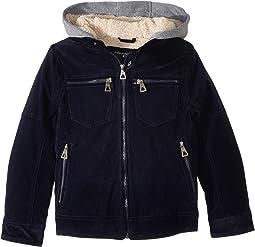 Alexander PU Suede Moto Jacket Sherpa Lined Fleece Hood (Little Kids/Big Kids)