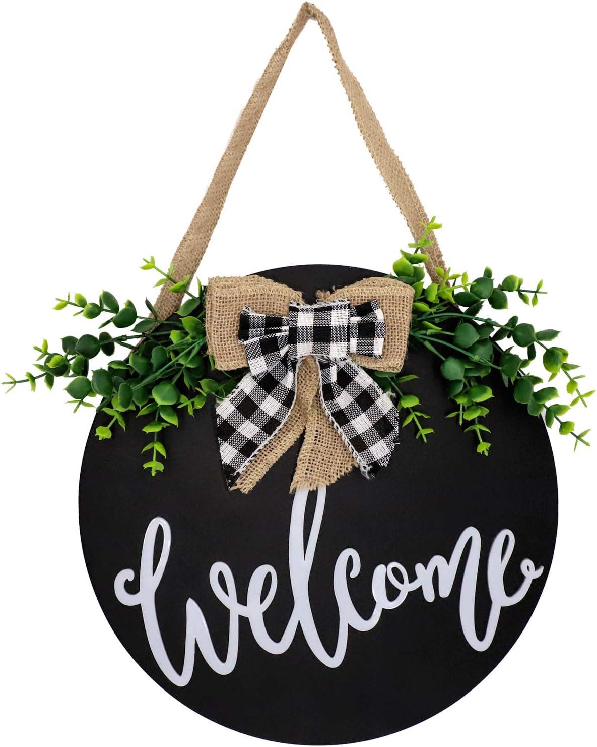 3D Welcome Sign for Front Door   Black Round Wooden Front Door Wreaths   Farmhouse Door Hanger for Front Door/Wall Decor