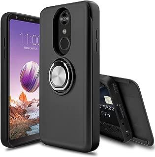 Leptech LG Stylo 4 Case, LG Stylo 4 Plus Case, [Slider Card Slot] 360 Degree Rotating Ring Holder Shockproof Protection Phone Cover Case for LG Stylus 4/LG Q Stylo/LG Q Stylo Plus (Black)