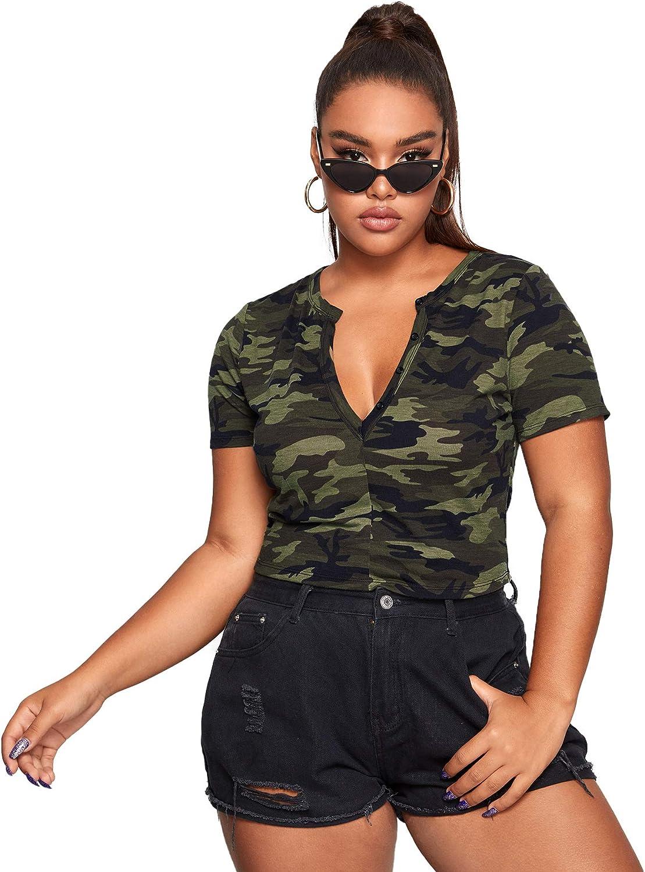 Floerns Women's Plus Size Notched Neck Top Short Sleeve Camo Tee Shirt