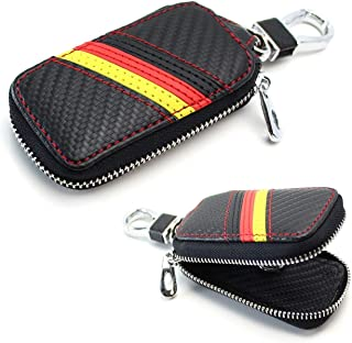 iJDMTOY (1 Germany Flag Stripe Carbon Fiber Pattern Leather Key Holder Cover Wallet for Audi BMW Mercedes Porsche Volkswagen, etc