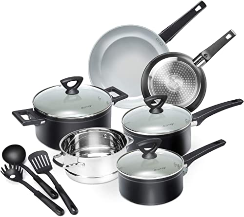discount Duxtop 12-Piece outlet online sale Nonstick Cookware Set, Dishwasher Oven Safe Ceramic Pots and outlet sale Pans Set with Glass Lid, Impact-bonded Technology, Induction Base online