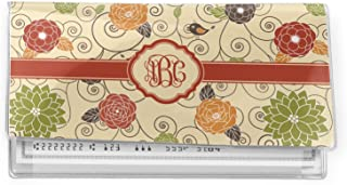 Swirls /& Floral Genuine Leather Checkbook Cover Personalized