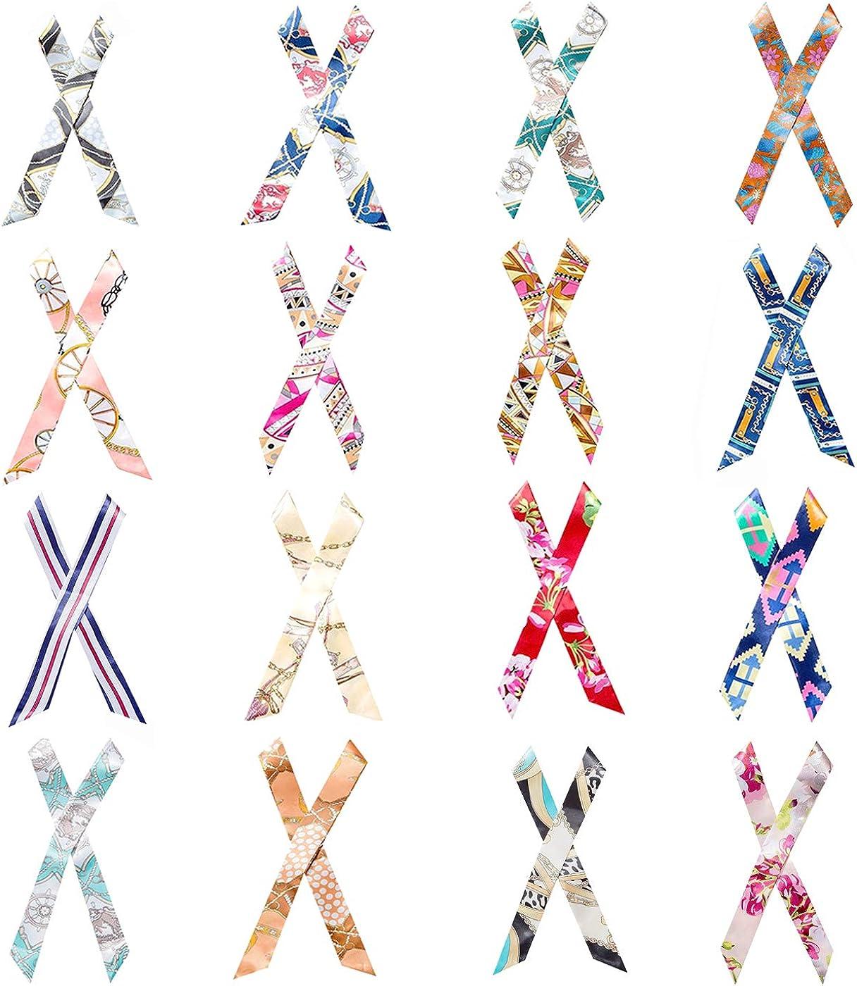 Aimyoo 32pcs Handbag Handle Ribbon Scarf - 16 Pairs Fashion Hairband Neckerchief Scarf Ribbon for Women Girls Ladies Decoration