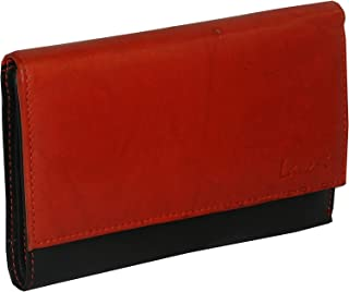 Laveri Black & Red Leather For Women - Trifold Wallets