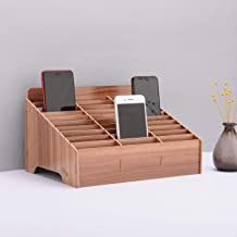 Wooden Cell Phone Organizer Phones Holder Desktop School Office Supplies Multifunctional Assembly Storage Box for Classroom Office Meeting Room Teacher (30 Grid Brown)