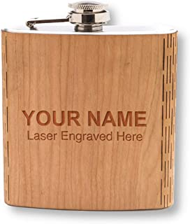 CUSTOM Laser Engraved Wooden Hip Flask - 6 oz. Stainless Steel, with Laser Engraved Name or Text