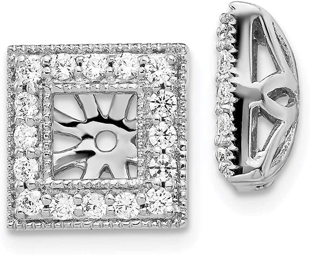 14k White Gold Diamond Square Earring Jackets