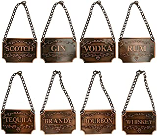 DIYARTS Wine Bottle Decanter Label Chain-Adjustable Luxury 8-Piece Liquor Decanter Tags for Whiskey Bourbon Scotch Gin Rum Vodka Tequila and Brandy (Copper)
