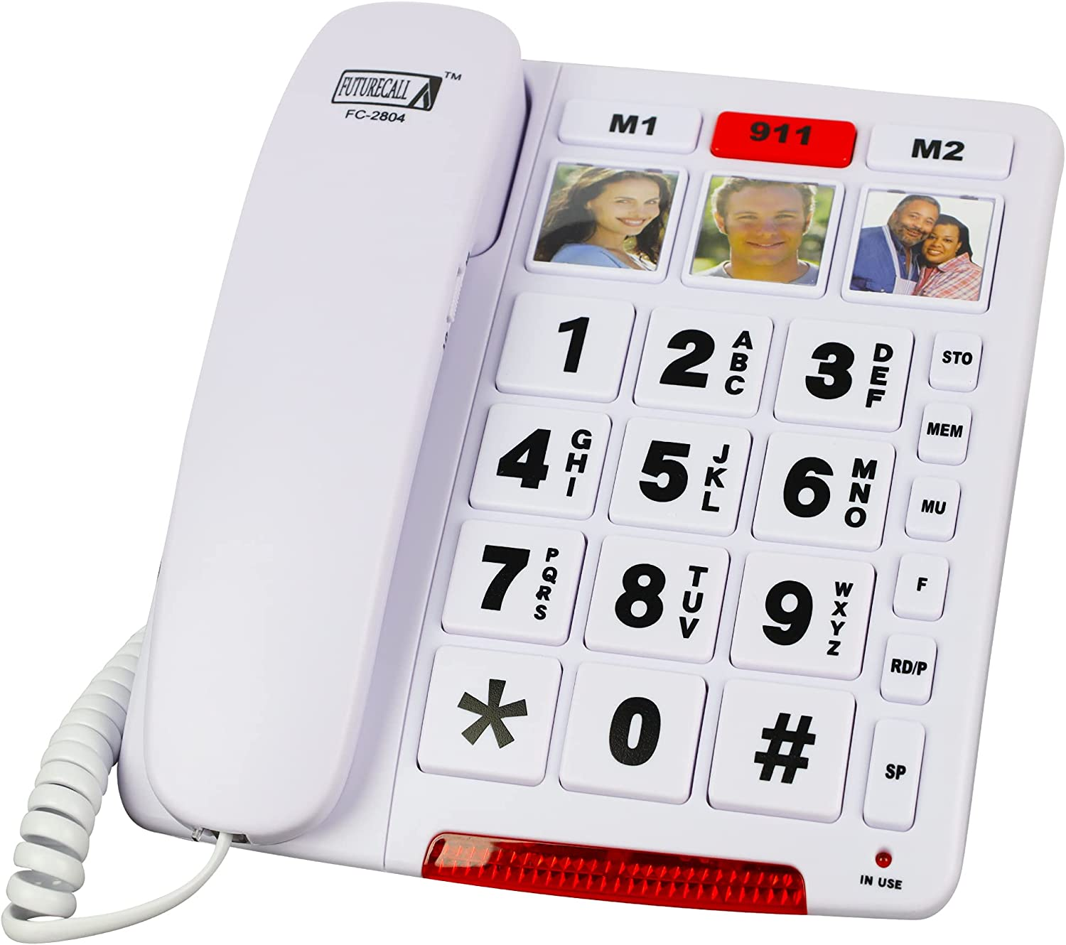 Future Call FC-2804 Big Button Phone for Seniors | 3 Picture Keys and Speakerphone | Amplified Telephones for Hearing Impaired Seniors 40db w/Extra Long 12' Cord | Simple Landline Phones for Seniors