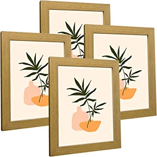 Q.Hou 8x10 Picture Frame Natural Wood Oak Photo Frames Packs 4 with High Difinition Glass for Tabletop or Wall Decor (QH-P...