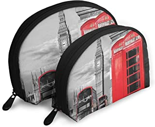Shell Shape Makeup Bag Set Portable Purse Travel Cosmetic Pouch,London Telephone Booth In The Street Traditional Local Cultural Icon England UK Retro Theme,Women Toiletry Clutch