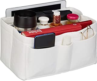Relaxdays Taschenorganizer Handtasche, Filz, viele Fächer, entnehmbarer Trenner, Handtaschenorganisator, Größe S, weiß