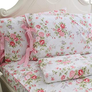 FADFAY Cotton Rose Floral Print Bed Sheets 4-Piece King Size