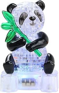 Joyfia 3D Crystal Puzzle, DIY Panda Model Jigsaw with Light-Up, 1 Set Gadget Blocks Building Decoration Game Toy Gift for Kids Boys Girls