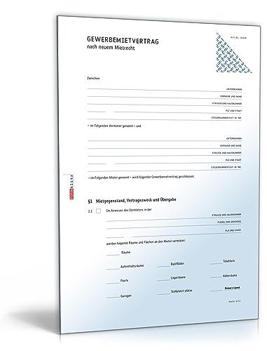 Mietvertrag gewerbliche Räume (PDF) - Gewerbemietvertrag für Räumlichkeiten jeder Art [Download]