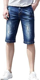 ハーフパンツ メンズ ストレッチ ダメージ 大きいサイズ 短パン デニム ショートパンツ 半ズボン 5分丈 夏