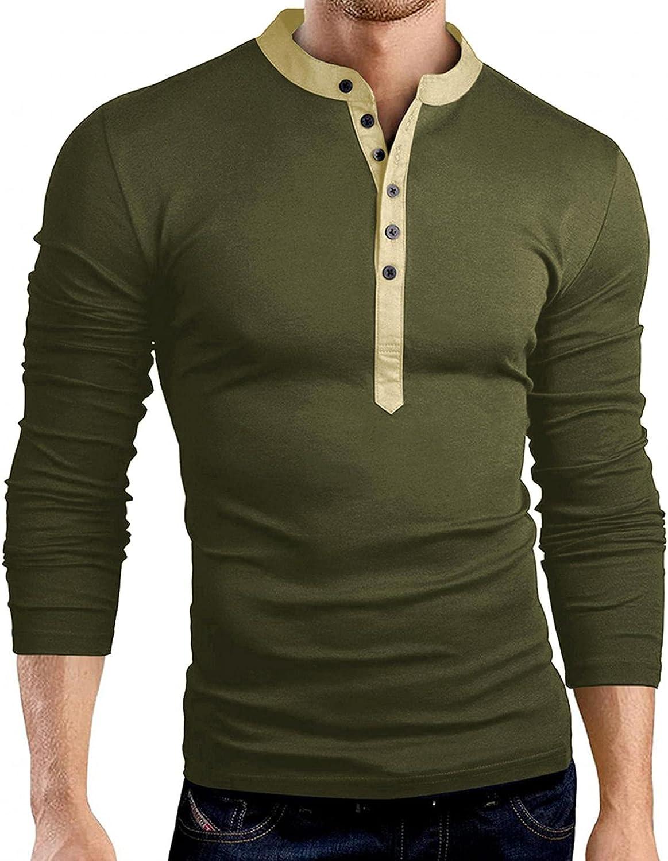 KEEYO Mens Casual Slim Fit Henley Shirts Lightweight Long Sleeve Active Jerseys Polo Cotton Baseball T-Shirt Tops