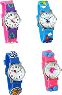 Kid's 3D Watch Japan Quartz Waterproof Cute Cartoon Rainbow Numeral Silicone Wristwatches