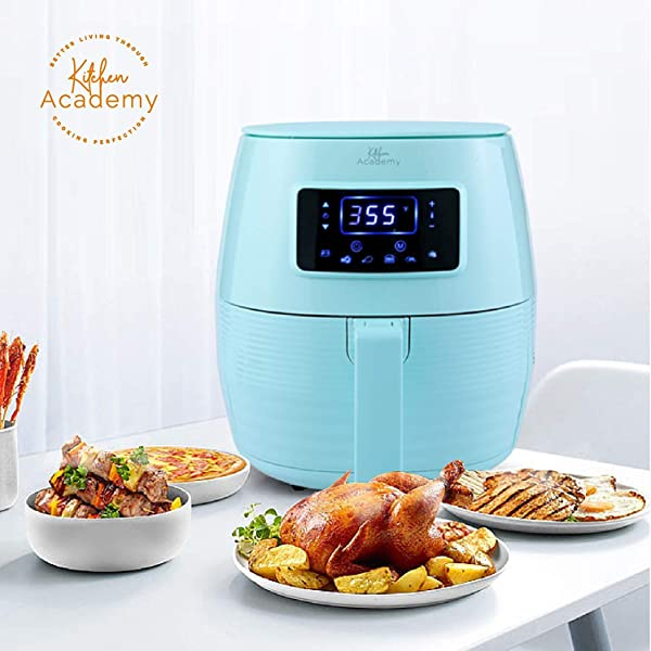 Kitchen Academy 5 8QT Digital Oil Free Air Fryer Aqua Blue