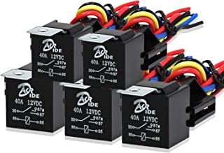 5 Pack - Automotive Relay Set 5-Pin 40A 12V SPDT With Interlocking Relay Socket/Wiring Harnesses, 1 Year Free Replacement Warranty