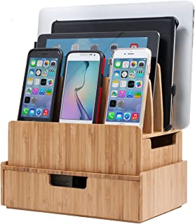 Charging Station Stand Combo with Bamboo Drawer; Extra Storage for Smartphones, Tablets, Laptops & Organizer for Office Supplies and Stationary Items