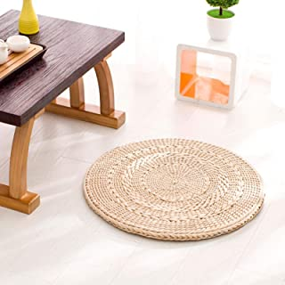 Natural Cattail Placemats,Round Woven Straw Placemats Rattan Placemats, Handmade Dining, Table Mats Insulation Pad No-Slip...