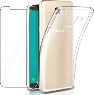 Leathlux Samsung Galaxy J6 2018 Funda + Protector de Pantalla de Cristal Templado,Transparente TPU Silicona [Funda + Vidrio Templado] Ultra Fino Flexible Back Case Cover para Samsung Galaxy J6 2018