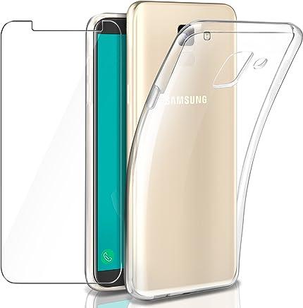 Leathlux Custodia Galaxy J6 2018 Cover Trasparente + Pellicola Protettiva in Vetro Temperato, Morbido Silicone Custodie Protettivo TPU Gel Sottile Cover per Samsung Galaxy J6 2018