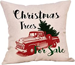 Softxpp Christmas Trees for Sale Vintage Red Truck with Tree Throw Pillow Cover Rustic Farmhouse Style Winter Holiday Decor Cushion Case Decorative for Sofa Couch 18 x 18 Inch Cotton Linen