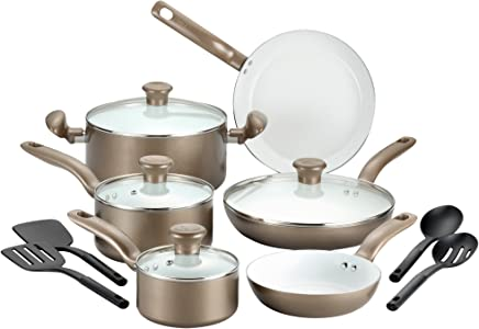 T-fal 2100088763 14 Piece Ceramic Dishwasher Safe Nonstick PTFE PFOA & Cadmium Free Cookware