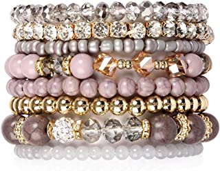 Bohemian Multi-Layer Beaded Stacking Bracelets - Versatile Stretch Strand Sparkly Crystal Beads Statement Wrap Slip-on Cuff Bangle Set