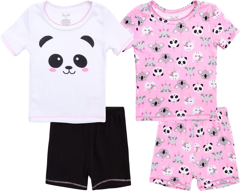 Rene Rofe Baby Girls' Pajama Set - 4-Piece Super Soft Shorts and T-Shirt Set
