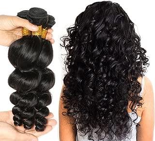 JINREN (TM) Brazilian Virgin Hair Loose Wave Hair Weave 3 Bundles 300g Unprocessed Loose Deep Wave Virgin Human Hair Weave Natural Black 10-28inch (22inch 24inch 26inch)