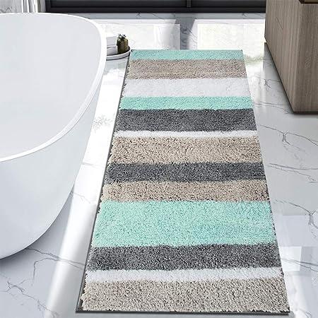 Amazon Com Hebe Extra Long Bath Rug Runner For Bathroom Extra Large Non Slip Microfiber Bathroom Mat Rug Runner Machine Washable Area Rugs 27 5 X55 Home Kitchen