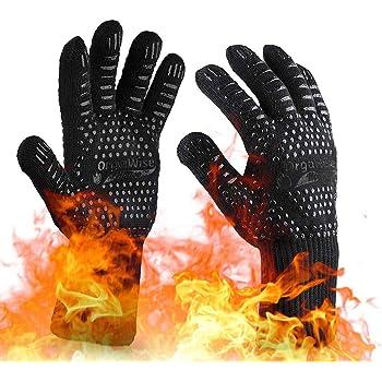 OrgaWise Guanti Ignifughi Barbecue Guanti da Barbecue Resistenti al Calore Resistenti al Calore Fino a 1472 ℉ / 800 ℃ Guanti da Cucina per Barbecue, Cottura ECC. (Nero)