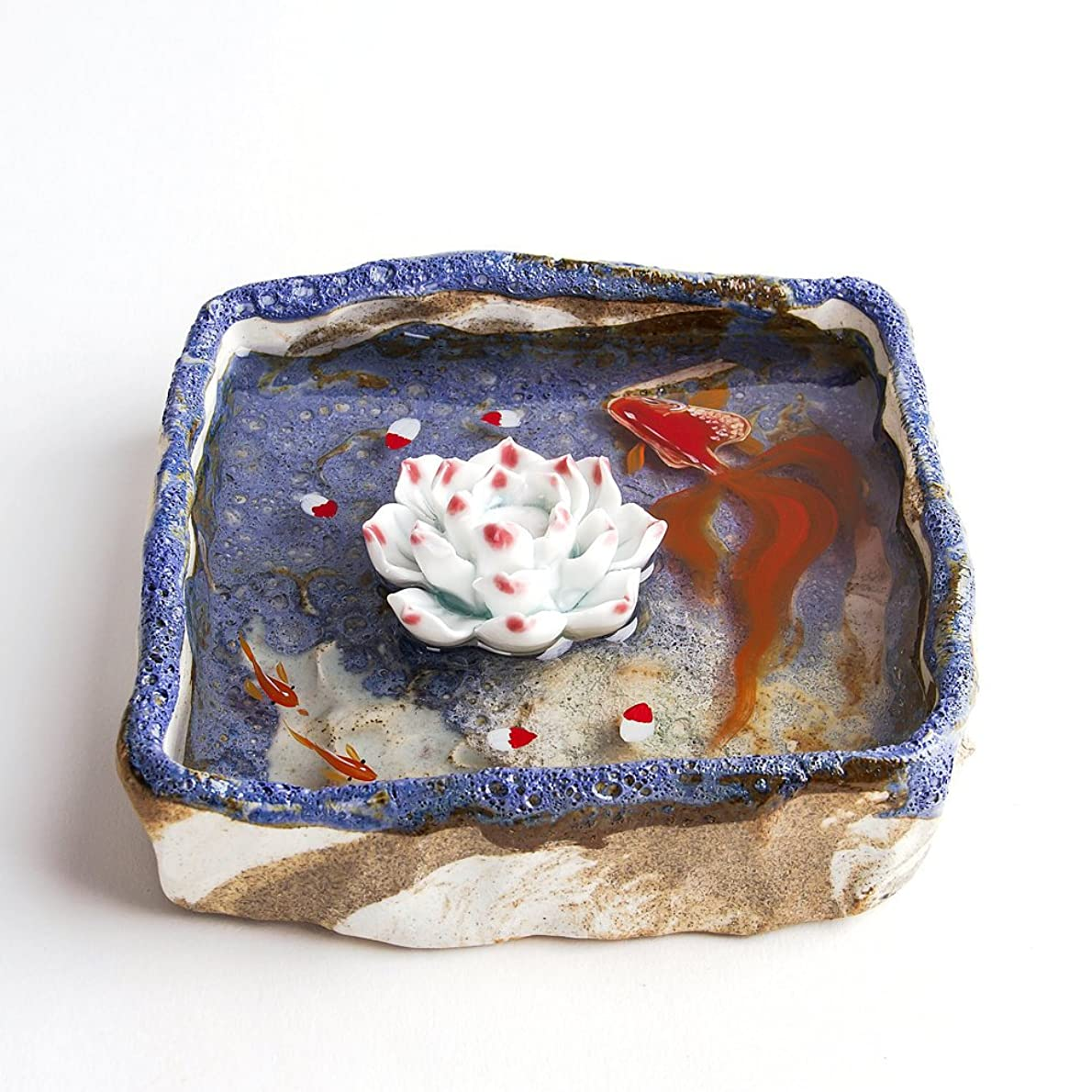 寄付心から逆にお香立て お香たて 香の器 お香を焚いて 香皿,陶磁器、ブルー
