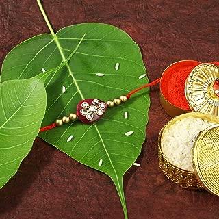 Aheli Rakhi Thread for Brother Bhaiya Maroon Faux Stone with Studded Kundan Diamond Pearls - Indian Festival Rakshabandhan