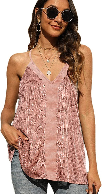 Women's Sequin V Neck Cami Tank Tops Glitter Spaghetti Strap Tank Top Sparkle Shimmer Racerback Camisole Vest (Pink,Large)