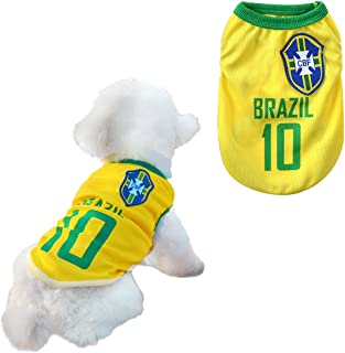 Dog Clothes Football T-Shirt Dogs Costume National Soccer World Cup FIFA Jersey for Pet Brazil