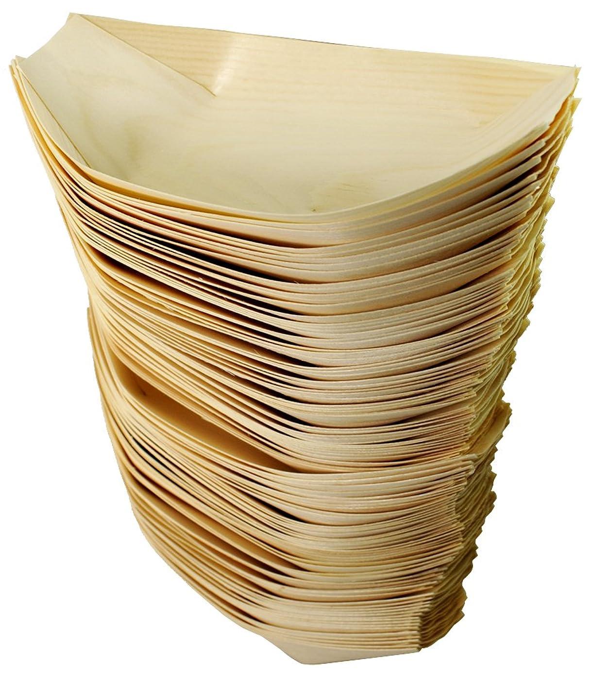 救出核ネックレット業務用 木製 たこ焼き舟皿 7寸タイプ 100枚入 Y-071