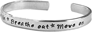 Breathe in Breathe Out Move on | Stacking Bracelets | Adjustable Silver Aluminum Hand Stamped Jewelry