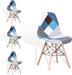 EGOONM Lot de 4 Chaise de Salle à Manger Multicolor Patchwork,Chaises en Tissu de Lin Loisirs Salon,Chaises avec Dossier à...