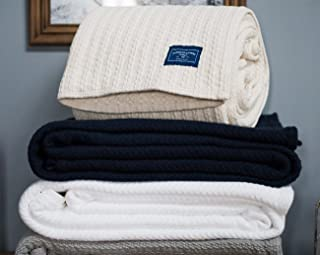 American Blanket Company, Soft 100% Cotton Cable Weave Blanket, Cozy and Warm! Made in USA, Queen 90