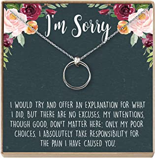 Dear Ava Apology Gift Necklace for Her: Gift to Say You're Sorry Best Friend, Girlfriend, 2 Linked Circles